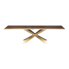 Cyrena Dining Table Seared Oak Top Brushed Gold 112