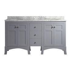 "New York 60"" Gray Bathroom Vanity, White Marble Carrera Countertop and Sink"