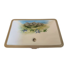 Hand Painted Rocky Mountain Columbine Sink, Limited Edition