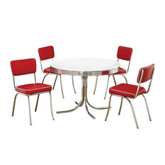 Cleveland Chrome Plated Retro 5-Piece Round Dining Set, White and Red