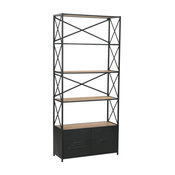 """vidaXL Bookcase Solid Firwood and Steel 70.8"""" 4-Layers Drawers Bookstand Shelf"""