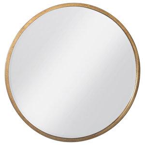 Newport Round Mirror in Antique Gold
