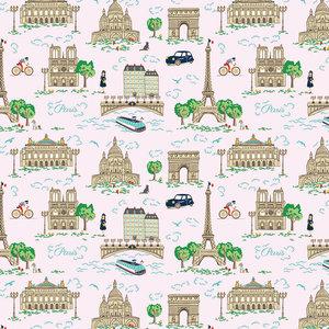 Toile de Paris Wallpaper Roll, Pink, 48x1000 cm