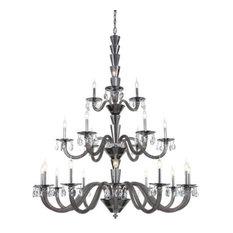 Elegant Lighting Augusta 21 Lights Chrome Chandelier, Silver