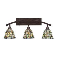 """Bow 3-Light Bath Bar, 7"""" Crescent Art Glass, Bronze"""