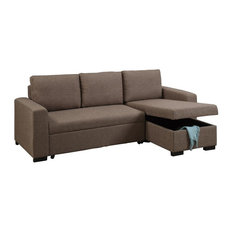 Adarn - Convertible Fabric 2-Piece Sectional Sofa Pull-Out Bed Chaise  sc 1 st  Houzz : modern gray sectional - Sectionals, Sofas & Couches
