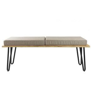 Upholstered Long Bench, Grey