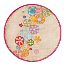 Lil Mo Hipster Polyester, Hand-Tufted Rug, Ivory, 5'x5' Round