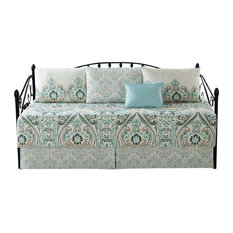 """Visionary Damask 6 Piece Quilted Daybed Set, Blue, Daybed, 75""""x39"""""""