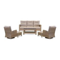 Tortuga Outdoor Rio Vista Wicker Bistro Set, 1 Sofa 2 Chairs 2 Ottomans 1 Coffee