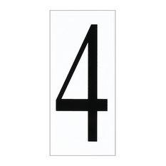 """Sea Gull Lighting Address Number Tile, White/Black, """"4"""""""