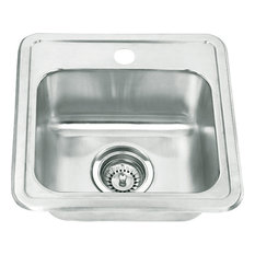 "Yosemite Home Decor 15"" x 15"" Topmount Single Sink, Satin Stainless, MAG1515"