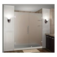 "Nautis GS Frameless Frosted Shower Door With Shelves, Chrome, 76""x72"""