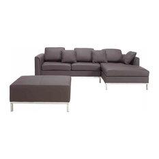 Oslo Brown Leather Modern Modular Sofa and Ottoman 3-Piece Set