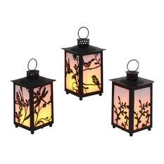 """9.65""""H FireGlow Lanterns, Set of 3"""