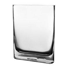 "Glass Rounded Edge Rectangle Vase. 10"""