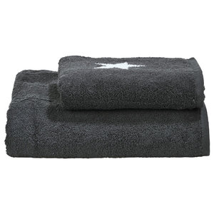 Stars Towel Collection, Anthracite and White, Set of 2
