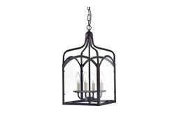 4-Light Antique Bronze Glass Farmhouse Lantern Pendant Chandelier