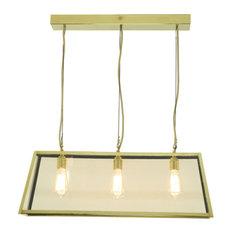 Diner Pendant Light, Polished Brass, 3 Bulbs