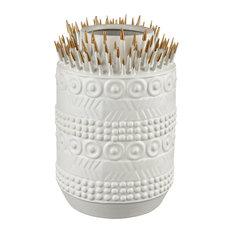 Elk Modern Thrilling Quill Vase In Matte White And Matte Gold 9167-079