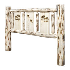 Montana Log Collection Wood King Headboard MWKHBVLZMOOSE