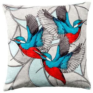 Paradise Velvet Cushion, 3 Kingfishers