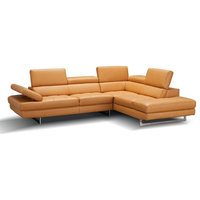 A761 Italian Leather Sectional Sofa in Freesia, Right Hand Facing Chaise