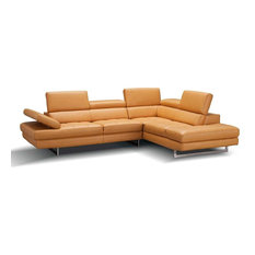 A761 Italian Leather Sectional Sofa In Freesia Right Hand Facing Chaise