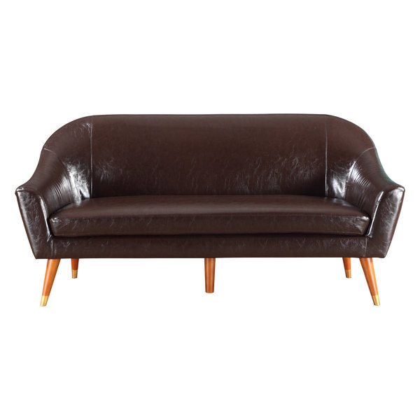 Mid Century Modern Bonded Leather Living Room Sofa, Brown