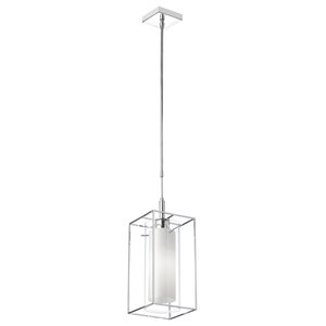 Dainolite CBE-61P-PC 1-Light Pendant, Rectangular Metal