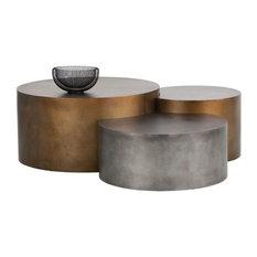Sunpan Ikon Neo, Coffee Tables, Brass, 3-Piece Set
