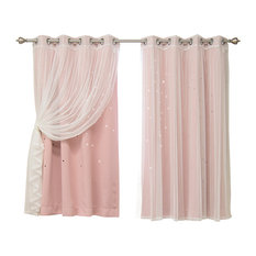 """Tulle and Star Cut Out Blackout Mix and Match Curtains, Dusty Pink, 63"""""""