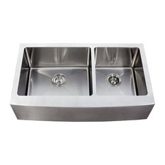 ariel   stainless steel curved front apron 60 40 bowl kitchen sink 36 48 inch double kitchen sinks   houzz  rh   houzz com