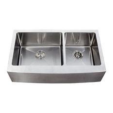 ariel ariel bath double bowl curved apron kitchen sink stainless steel 36 apron kitchen sink