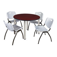 Kee 48 Round Breakroom Table- Mahogany/ Chrome & 4 'M' Stack Chairs- Grey
