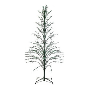 4' Green Lighted Cascade Twig Tree Outdoor Yard Decoration