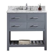 "Virtu Caroline Estate 36"" Single Bathroom Vanity, Gray With Marble Top, Mirror"