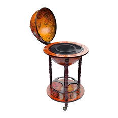 Traditional Bar Globe, Wood Frame With Castor Wheels, Ancient World Map Design