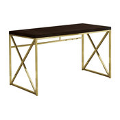 "Monarch 48"" Sleek Contemporary Wood Top Writing Desk in Cappuccino and Gold"