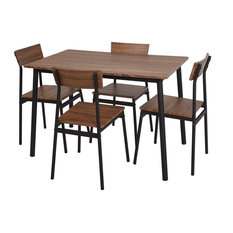 Rustic Dining Table With 4 Chairs Strong Metal Frame With Brown Hardwood