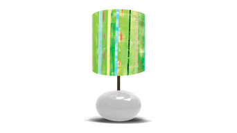 Going Green on White Base Lamp by Oopsy Daisy