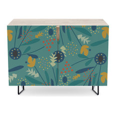 """Society6 Credenza, Birch, Steel, 30"""", Floral Dance In Blue By Cocodes"""