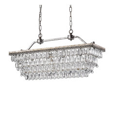 9Th Avenue 4-Light Antique Sliver Rectangular Crystal Chandelier