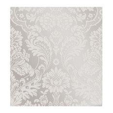 Gothic Damask Flock Wallpaper, White