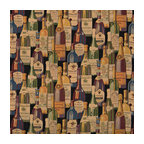 French and Italian Wine Bottles Themed Tapestry Upholstery Fabric By The Yard