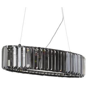 5 Light Smoke Prism Glass Bar Ceiling Pendant
