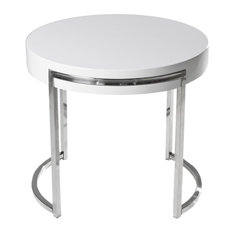 Leah Round Side Table White