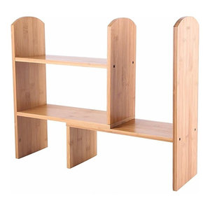 Traditional Display Storage Unit, Natural Bamboo Wood With Open-Compartment