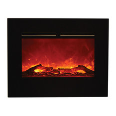 Amantii Zero Clearance Electric Fireplace Black Glass Surround 26""