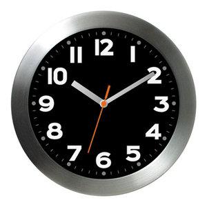 """11"""" Brushed Aluminum Wall Clock Mega Black"""